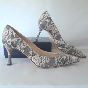 Manolo Blahnik Black & Cream Lace Pumps 8.5/8